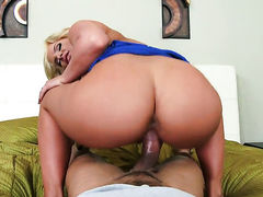 Blonde exotic Phoenix Marie with phat butt and bald twat finds herself horny