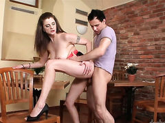 Brunette finds her mouth filled with