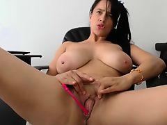 BBW with large bouncing boobs toys her pussy