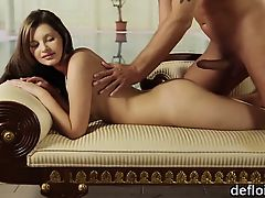 Lovely girl stretches yummy cunt and loses virginity
