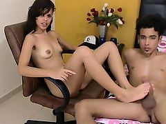 Beautiful brunette teen footjob for boyfriend on webcam