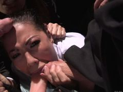 Dana Vespoli gets her hot asian mouth drilled by two,