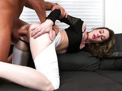 Brunette with clean beaver lets man insert his pole in her mouth  : Pornalized.com erotic video