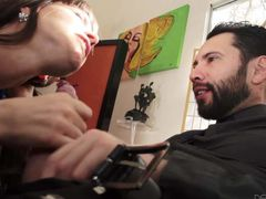 Black haired MILF Dana Dearmond takes off her blouse and