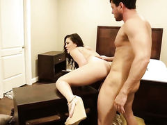 Brunette oriental London Keyes and hot guy are