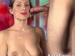 She lovingly sucks his cock until he cums all over her face