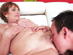 Redhead with giant tits just feels intense