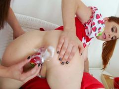 Pale lesbians Penny Pax and Casey Calvert stick toys in