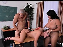 Teen And MILF Threesome In Class Holly Halston