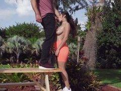 busty latina gets fucked outdoors