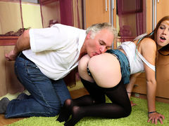 Horny older man enjoys blowjob from a girl and fucks her tight pussy - OldGoesYoung