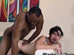 Black stud spunks twink