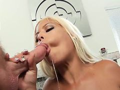 Bridgette B. with her big boobs and awesome body showing some skill in sucking a huge dick,