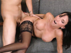 Lezley Zen with huge melons is just desperate for sex in this steamy fuck action with Clover