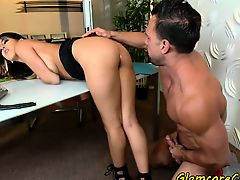 Pornstar pussyfucked hard in office