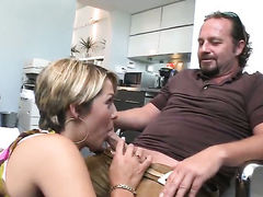 Brunette with bubbly ass and hairless pussy finds man hot