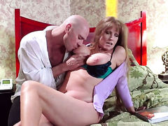 Darla Crane with huge boobs gets used silly by fuck hungry Johnny Sins