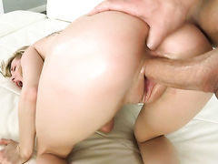 Tattooed hottie with bald beaver gets jizz covered after sex with horny dude