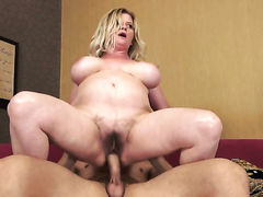 Blonde with gigantic jugs gets a fuck with hot dude