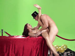 Monique Alexander milks Johnny Sinss ram rod with her hot mouth