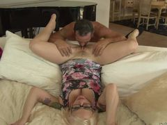 Big breasted blonde MILF with glasses Missy Monroe spreads her