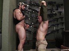 hairy muscular hunks suck thick dong @ gun show
