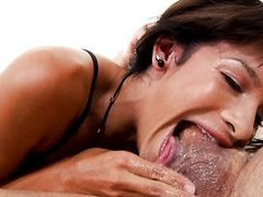 trying to put every inch of his dick into her mouth