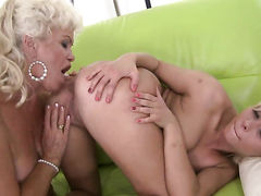 Blonde Lisa with big boobs and Effie are two dykes