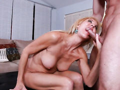 Blonde Erica Lauren satisfies mans sexual desires and then gets her lovely face cum covered