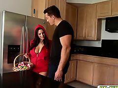 Ramons big meat slides between Angelas wet pussy