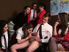 British cfnm schoolgirl wanking off classmate