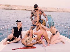 Exotic girl gang-banged on a boat