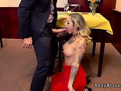 Tattooed pornstar anal fucks in restaurant