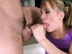 Blonde Blue Angel makes her dirty dreams a reality with dudes ram rod in her mouth