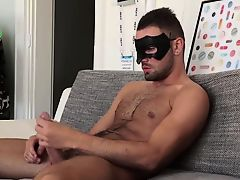 Mysterios straight hunk wanks in a kitchen