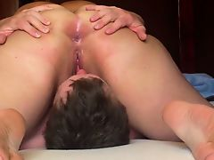BBW sitting on his face and he licks her