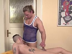 Tattoed twink breeded in tight ass